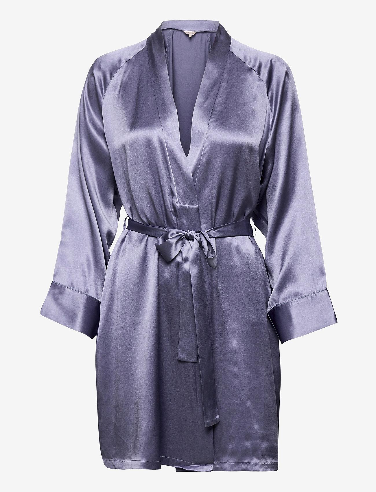 Lady Avenue - Pure Silk - Short Kimono - morgonrockar - pigeon blue - 1