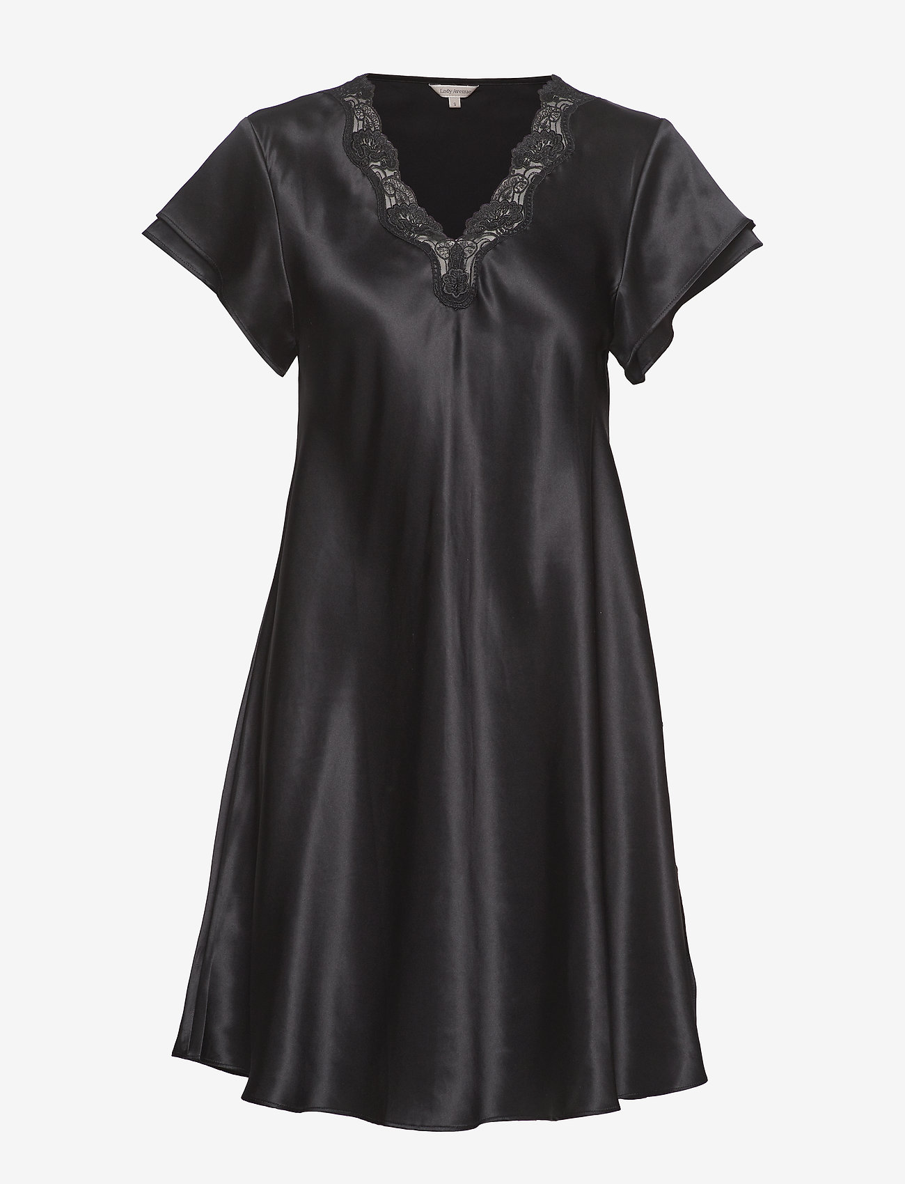 Lady Avenue - Pure Silk - Nightgown w.lace, short - nachthemden - black - 1