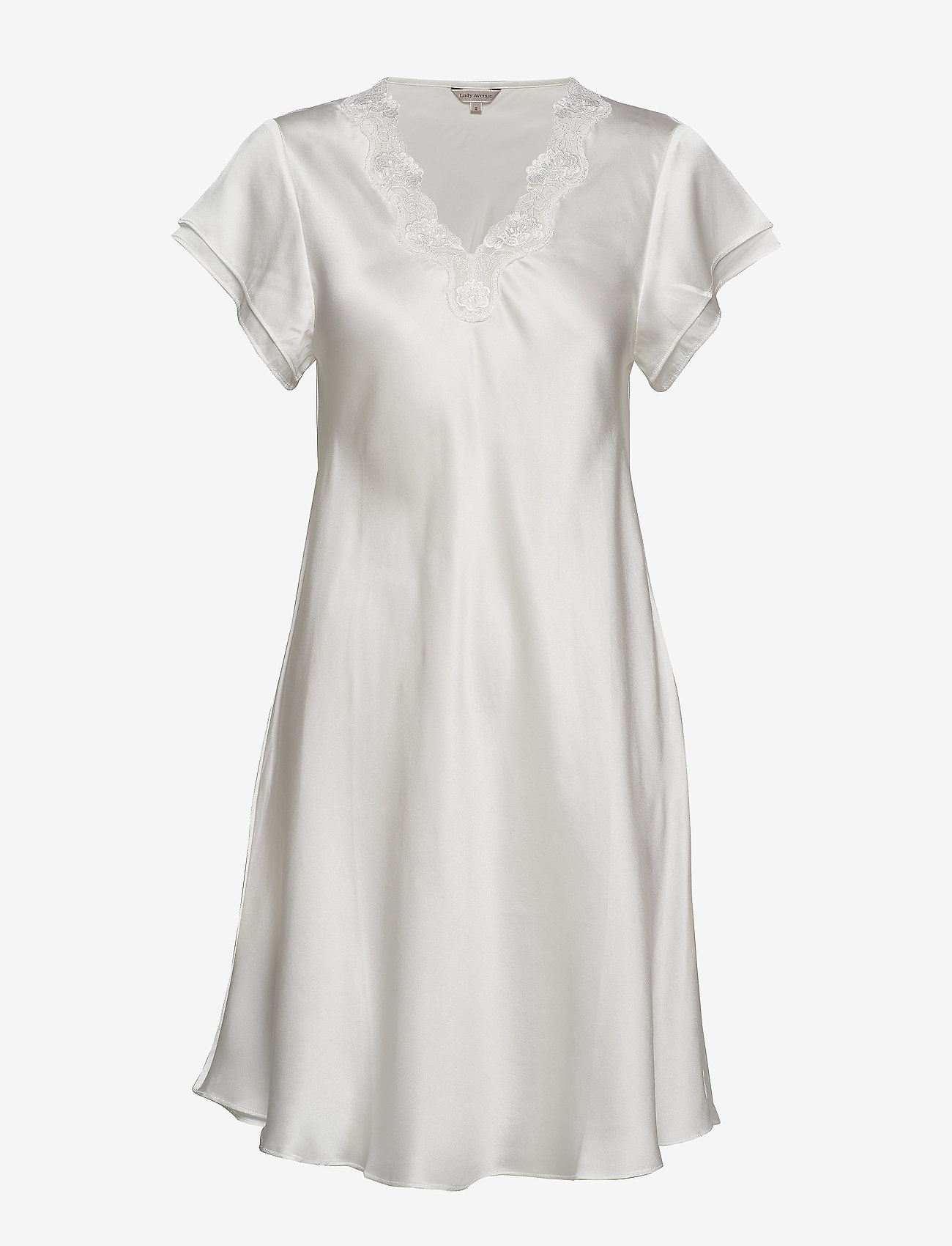 Lady Avenue - Pure Silk - Nightgown w.lace, short - nightdresses - off-white - 1