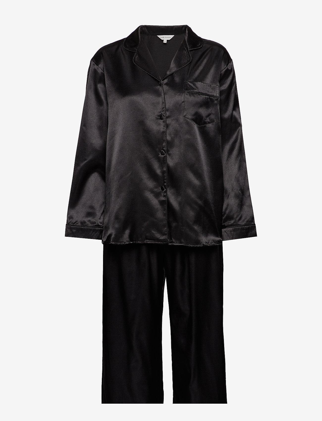 Lady Avenue - Satin Long Sleeve Pyjamas - pyjamas - black - 1