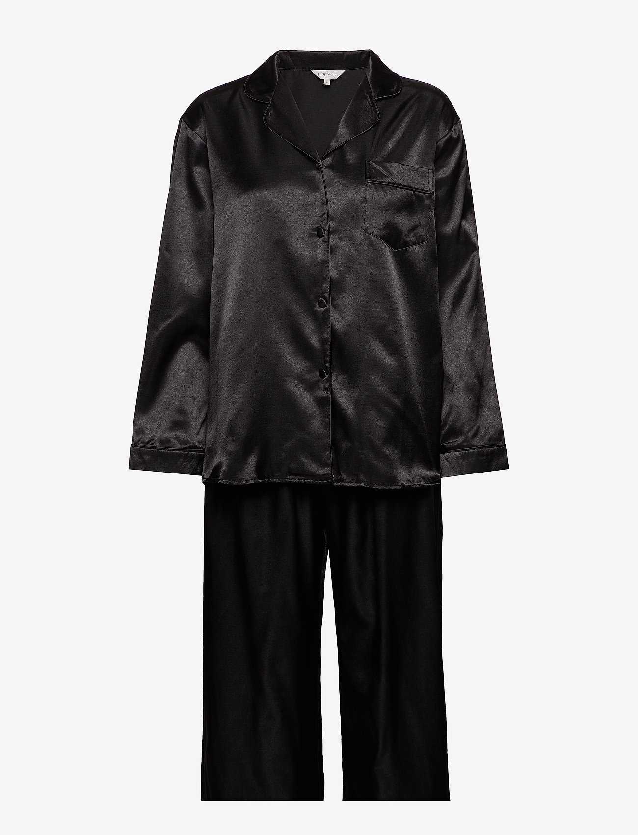 Lady Avenue - Satin Long Sleeve Pyjamas - pyjamat - black - 1