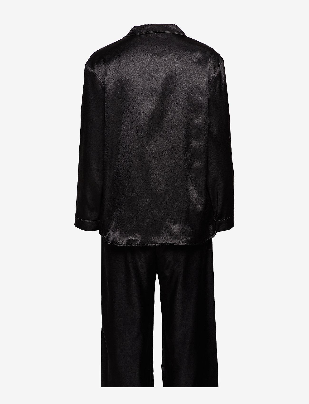 Lady Avenue - Satin Long Sleeve Pyjamas - pyjama's - black