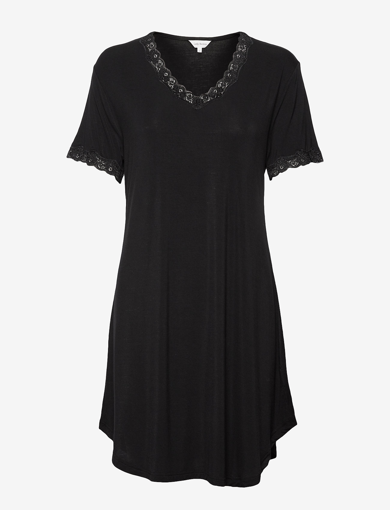 Lady Avenue - Bamboo Nightdress with short sleeve - nachtjurken - black - 1