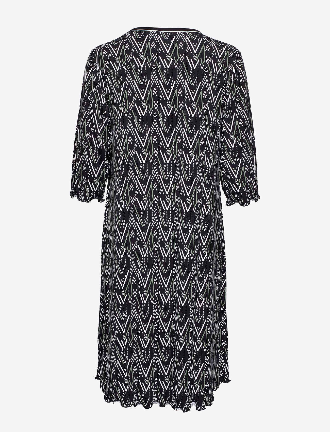 Bamboo 3/4-sleeve Nightdress (Olive Zigzag) - Lady Avenue RTQeLR