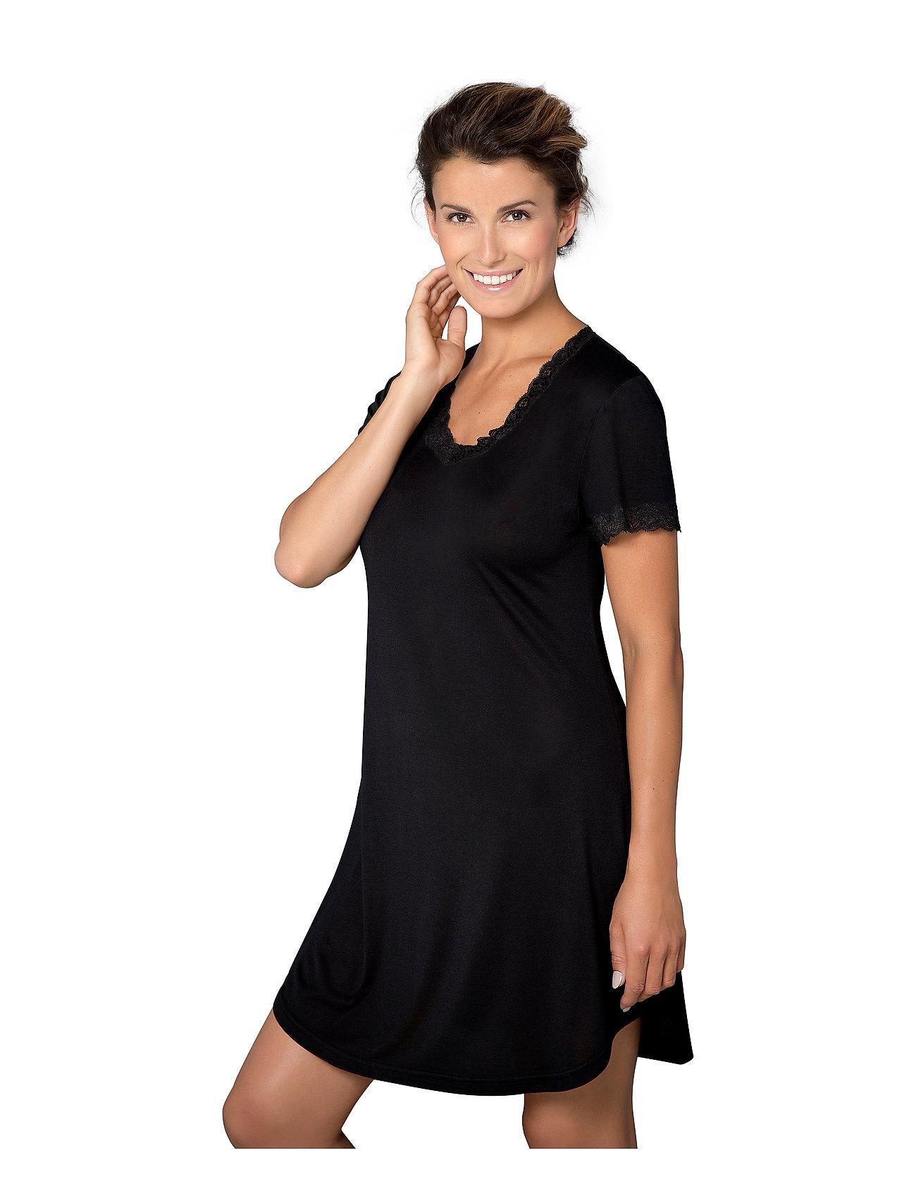 Lady Avenue - Silk Jersey - Nightgown w.sleeve - nachtjurken - black - 0