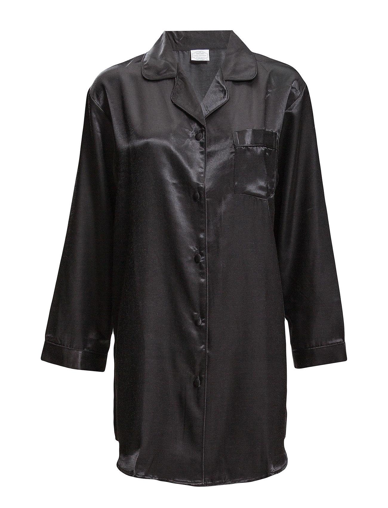 Lady Avenue Satin Long Sleeve Nightshirt - BLACK