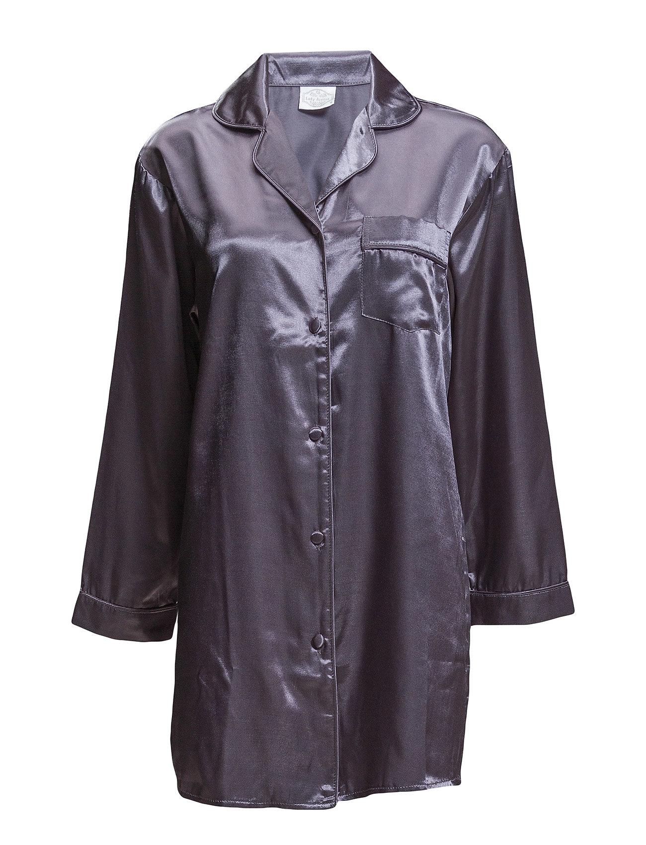 Lady Avenue Satin Long Sleeve Nightshirt - CHARCOAL