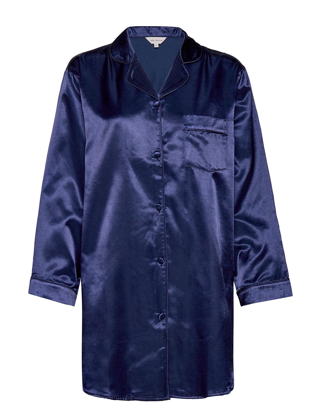 Lady Avenue Satin Long Sleeve Nightshirt - NAVY