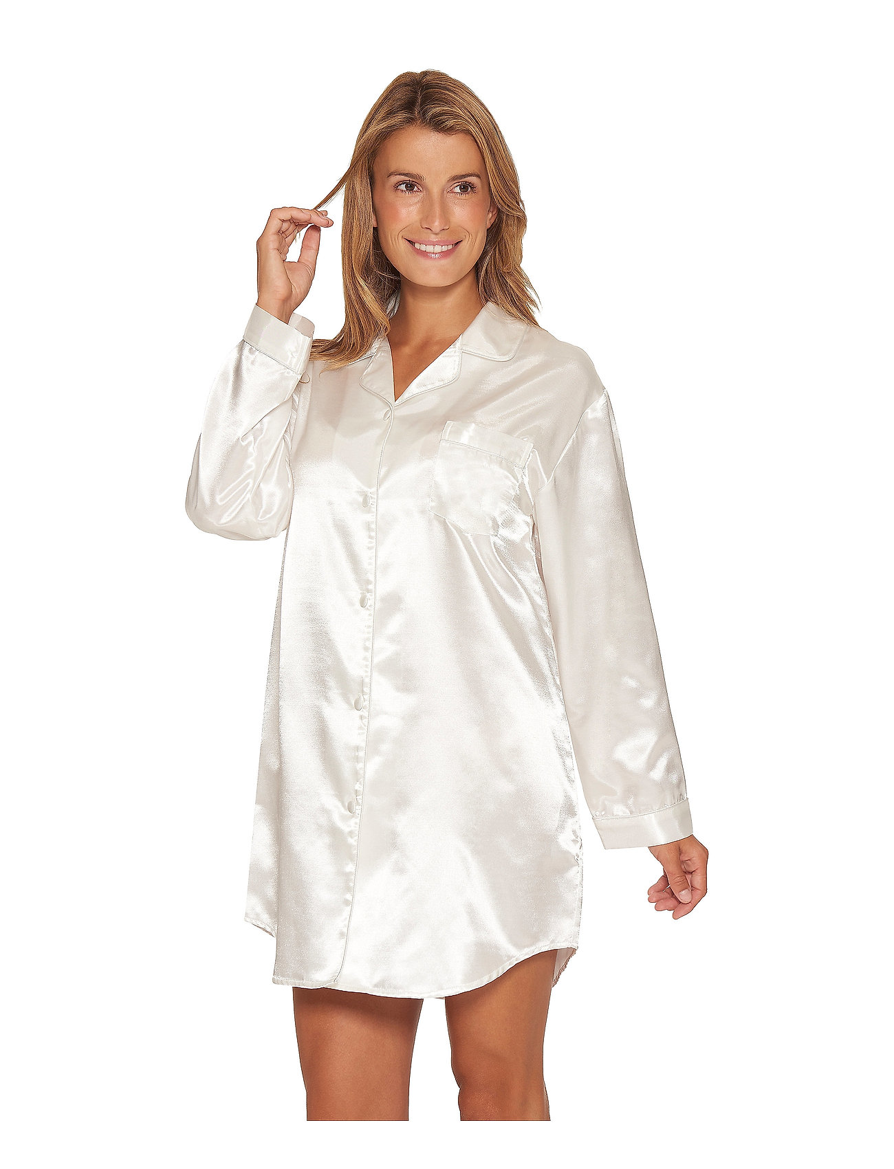 Lady Avenue - Satin Long Sleeve Nightshirt - tops - off-white - 0