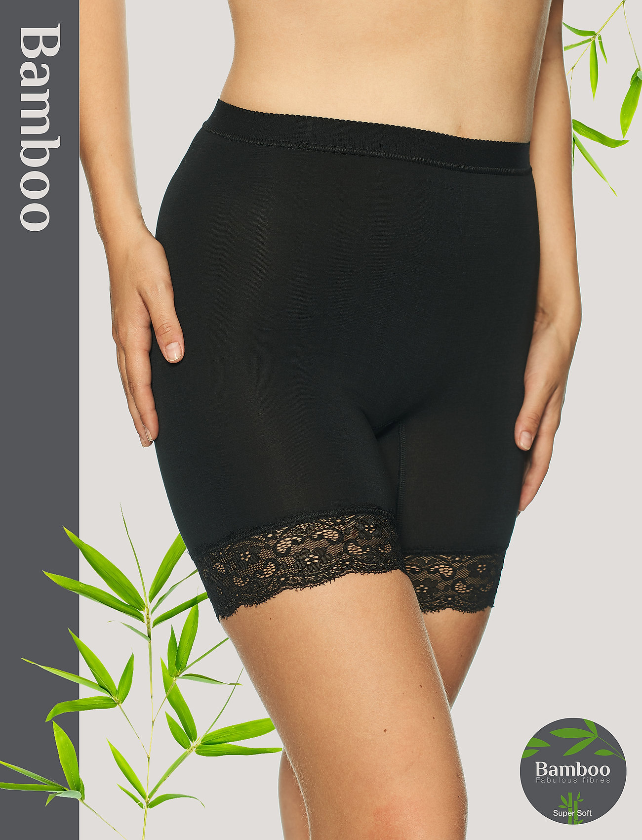 Lady Avenue - Short leggings with lace - bottoms - black - 0
