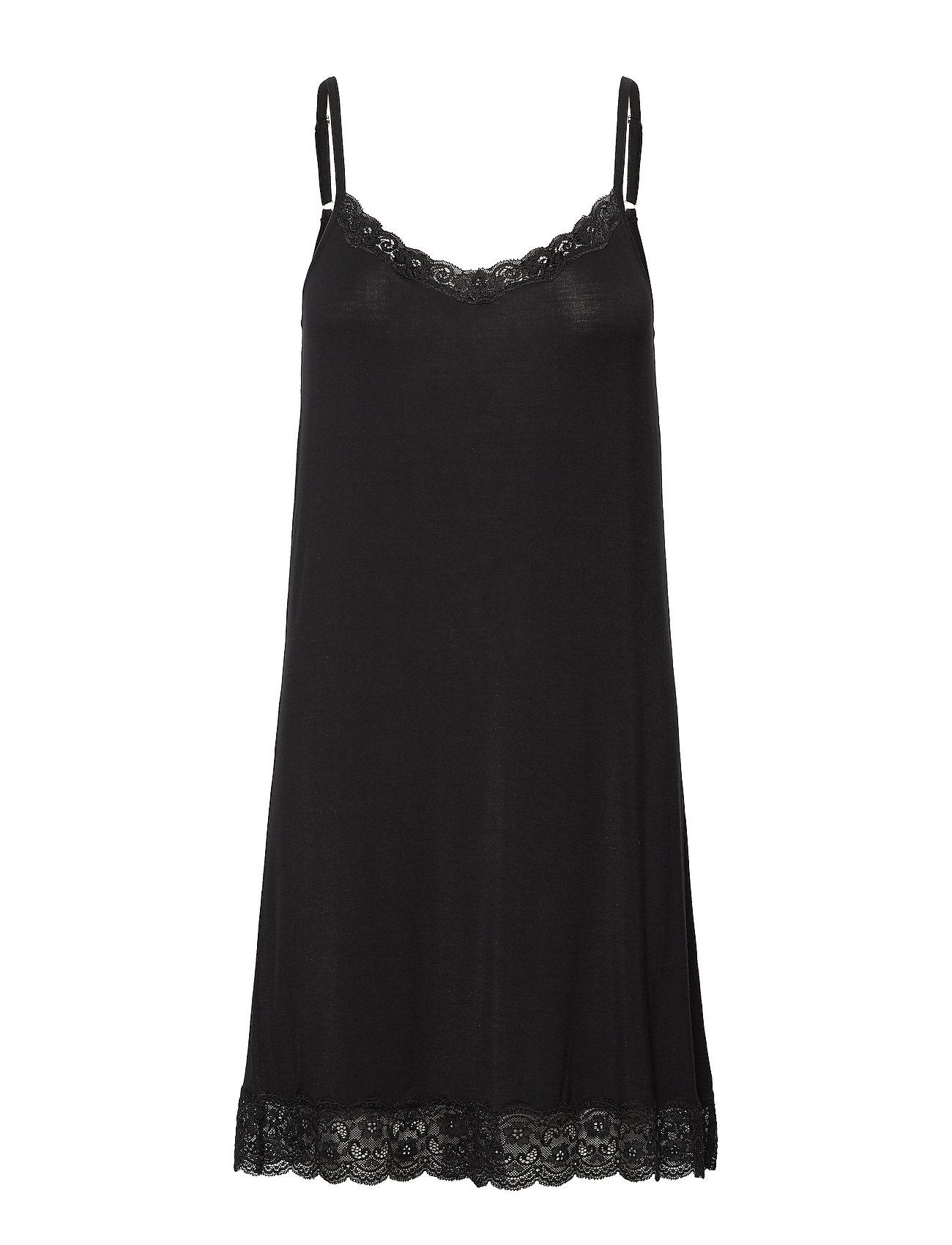 Lady Avenue Bamboo Lace Slip - BLACK
