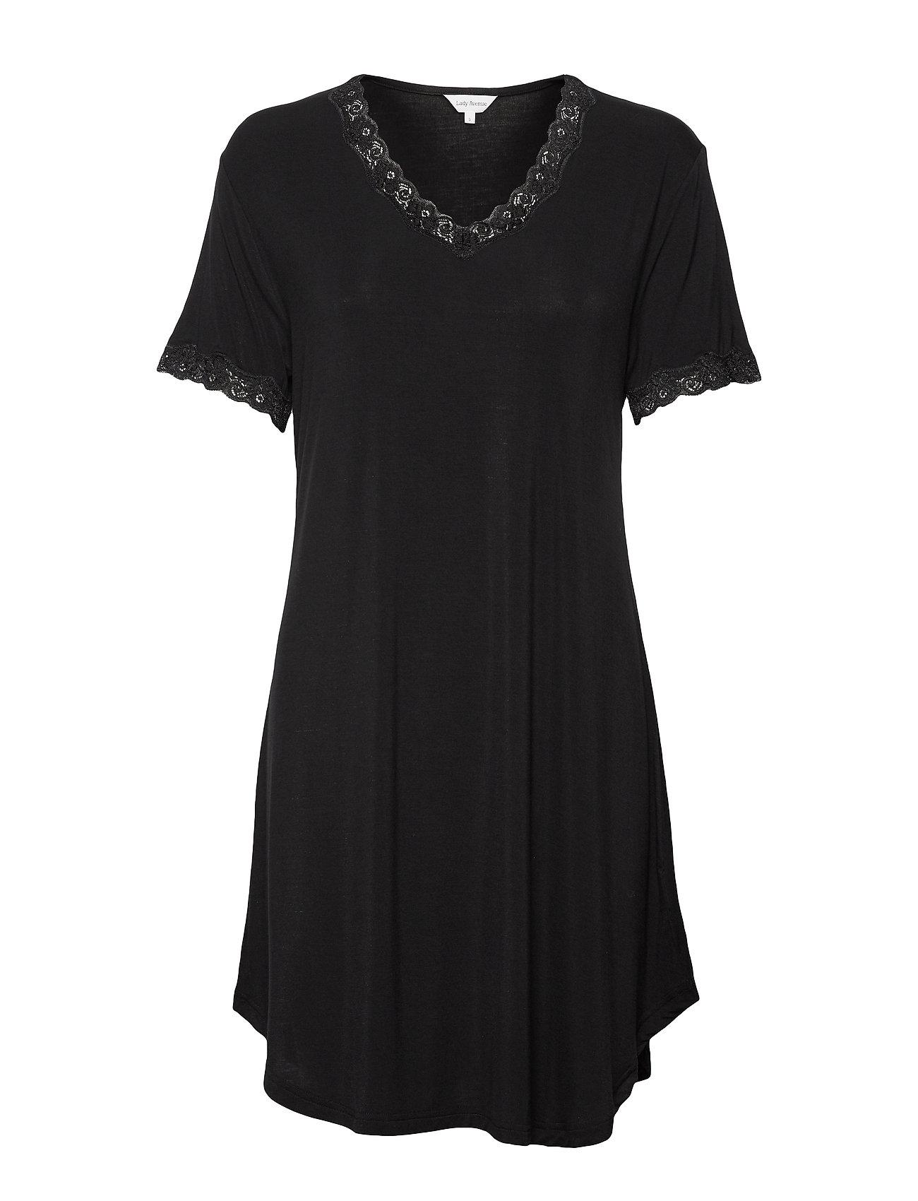 Lady Avenue Bamboo Nightdress with short sleeve - BLACK