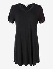 Lady Avenue - Silk Jersey - Nightgown w.sleeve - nachtjurken - black - 1