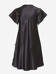 Lady Avenue - Pure Silk - Nightgown w.lace, short - nachthemden - black - 2