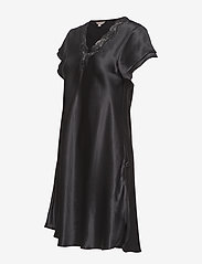 Lady Avenue - Pure Silk - Nightgown w.lace, short - nachthemden - black - 3