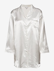Lady Avenue - Satin Long Sleeve Nightshirt - tops - off-white - 1