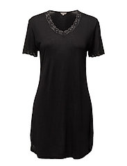 Silk Jersey - Nightgown w.sleeve - BLACK