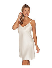 Lady Avenue - Pure Silk - Slip w.cording - natkjoler - off-white - 2