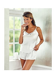 Lady Avenue - Pure Silk - Camisole w.lace - tops - off-white - 0