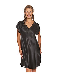 Lady Avenue - Pure Silk - Nightgown w.lace, short - nachthemden - black - 4