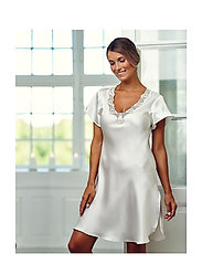 Lady Avenue - Pure Silk - Nightgown w.lace, short - nightdresses - off-white - 0