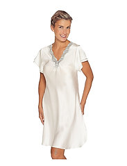Lady Avenue - Pure Silk - Nightgown w.lace, short - nightdresses - off-white - 4