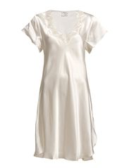 Lady Avenue - Silk Nightgown W.Lace, Short Sleeve