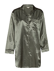 Satin Long Sleeve Nightshirt - ARMY