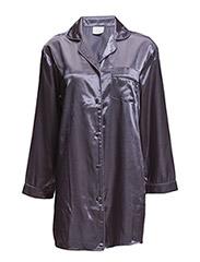 Satin Long Sleeve Nightshirt - CHARCOAL