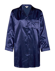 Satin Long Sleeve Nightshirt - NAVY
