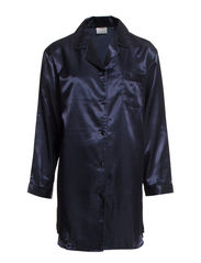 Satin Long Sleeve Nightshirt - MIDNIGHT