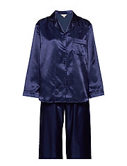 Satin Long Sleeve Pyjamas - NAVY