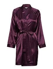 Satin Short kimono - AUBERGINE