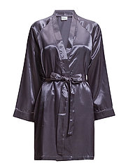 Satin Short kimono - CHARCOAL