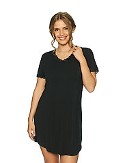 Lady Avenue - Bamboo Nightdress with short sleeve - nachtjurken - black - 2