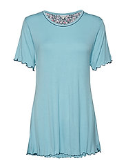 Bamboo Short-sleeve Nightdress - AQUA