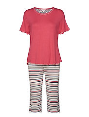Bamboo Short-sleeve PJ with pirate pants - CORAL PINK