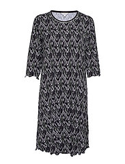 Bamboo 3/4-sleeve Nightdress - OLIVE ZIGZAG