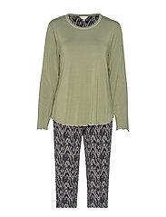Bamboo Long Sleeve Pyjamas - OLIVE ZIGZAG