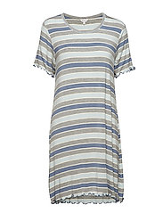 Bamboo Short Sleeve Nightdress - BLUE STRIPE