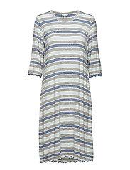 Bamboo 3/4-sleeve Nightdress - BLUE STRIPE