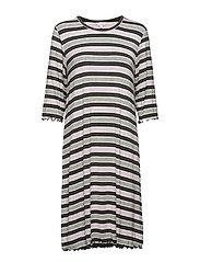 Bamboo 3/4-sleeve Nightdress - LAVENDER STRIPE