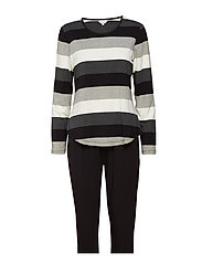 Bamboo Long Sleeve Pyjamas - BLACK-GREY