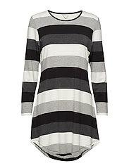 Bamboo Long Sleeve Nightdress - BLACK-GREY