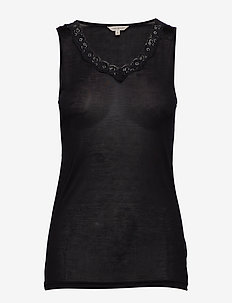 Silk Jersey - Top w.lace - BLACK