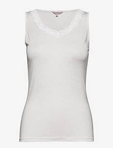 Silk Jersey - Top w.lace - Överdelar - off-white