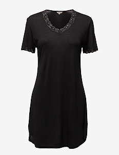 Silk Jersey - Nightgown w.sleeve - BLACK