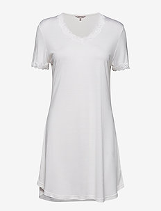 Silk Jersey - Nightgown w.sleeve - OFF-WHITE