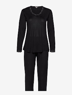 Silk Jersey - Pyjamas, Long sleeve - BLACK