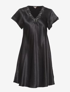 Pure Silk - Nightgown w.lace, short - BLACK